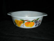 Vintage Hand Painted Fire King 1 1/2 Q Milk Glass Baking Dish, Reverse Markings