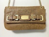 Michael Kors Hamilton Ostrich Embossed Mocha Brown Leather Small Shoulder