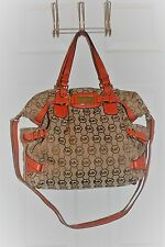 Michael Kors Extra Large Beige/Orange Monogram Canvas Gansevoort Tote