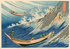 """Véritable Estampe Japonaise De Hokusai """" Les Bateaux De Pêche À Choshi Shimosa"""""""