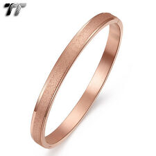 TT 9K Rose Gold GP Matt Stainless Steel Oval Bangle (BS57) NEW Arrival