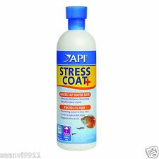 API STRESS COAT + 473 ml - REMOVES CHLORINE & CHLORAMINES ,REDUCE FISH STRESS,
