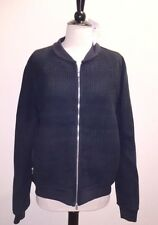 NEW Authentic Hermes Mens Navy Blue Leather Jacket Sz 50 Braided Front $10615