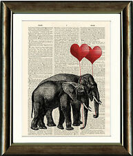 Old Antique Book page Art Print - Beautiful Vintage Elephants Dictionary Print