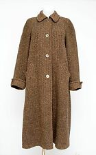 WOMENS AQUASCUTUM TWEED LONG COAT JACKET WOOL BROWN SIZE L LARGE EXCELLENT