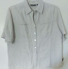 Alpine Design Beige Linen Cotton Mother of Pearl Button Down Camp Shirt S