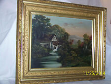 Antique Hudson River School Old Mill Landscape Original Oil On Canvas Painting
