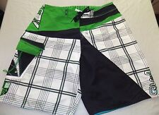 QUICKSILVER mens plaid LOGO surf BOARD SHORTS size 33 - NICE!