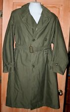 VINTAGE US ARMY WORLD WAR 2 TRENCH COAT GREEN S Reg. DOUBLE BREASTED