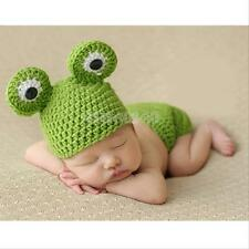 Newborn Baby Girl Cute Frog Crochet Knit Beanie Costume Photo Prop Outfit Set