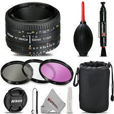 Nikon AF NIKKOR 50mm f/1.8D Lens + UV + FLD + CPL + Blower Brush + Lens Pen