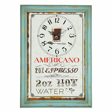 Vintage Shabby Distressed Design AMERICANO  Home Kitchen Wall Clock