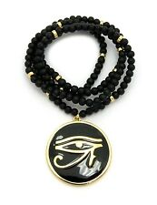 "EGYPTIAN ROUND EYE OF HORUS PENDANT 6mm/30"" WOODEN BEAD CHAIN NECKLACE RC2392G"