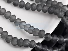 New! 50pcs 8mm Crystal Glass Rondelle Faceted Loose Spacer Beads Jelly Deep Grey