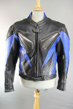 BLACK, BLUE & SILVER LEATHER BIKER JACKET WITH REMOVABLE ARMOUR 40 INCH