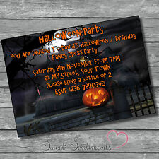 Personalised Halloween / Birthday Party Pumpkin Invitation Invite Pack Of 10
