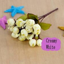 Home Wedding Party Decor 7 Colors 15 Head Artificial Silk Mini Roses Flowers