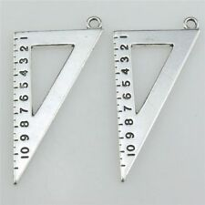 21043 7X Vintage Silver Alloy Measure Math Tool Triangular Ruler Pendant Charms