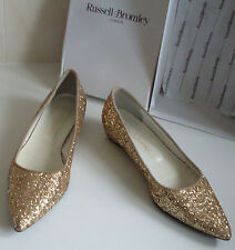 RUSSELL&BROMLEY Sparkling Gold Glitter Pointed Toe Low Heel Shoes UK5 EU38 US7