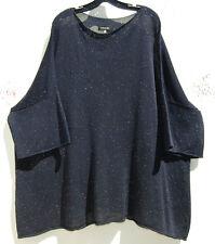 Eskandar DARK NAVY Handloomed  Silk Knit Sequenced Detailed Sweater O/S $2490
