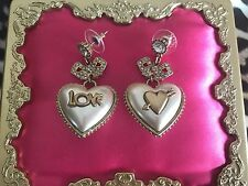 Betsey Johnson Vintage Dollhouse Doll House Pearl Heart Valentine LOVE Earrings