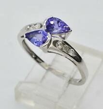 Genuine 14k White Gold 1.12ctw AAA Natural Tanzanite & G-SI2 Diamond Bypass Ring