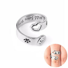 "Stamped Love Jewelry Dog Paw Print ""I Will Love You Forever"" Ring Hollow Heart"