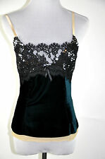 Dolce&Gabbana Green Velvet Black Lace with sequin camisole Size 42