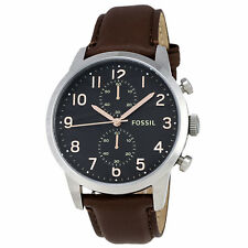 Fossil Townsman Black Dial SS Brown Leather Chrono Quartz Men's Watch FS4873