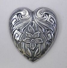 #3354 ANTIQUED SS/P HEART SHAPE BROOCH - 1 Pc Lot