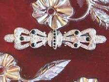 ART DECO STERLING SIVLER RHINESTONE BOW TIE BAR PIN BLACK AND CLEAR GLASS STONES