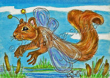Squirrel Dragon Fly aceo EBSQ Loberg Fantasy bug animal Mini Art Pond cat tails