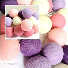STRING LIGHT COTTON BALL 20 PINK PURPLE TONE PARTY,PATIO,FAIRY,DECOR,WEDDING