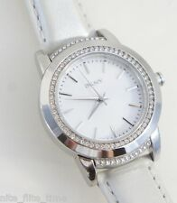DKNY Women's Watch NY8675 White Leather Strap MOP Dial Crystal Bezel