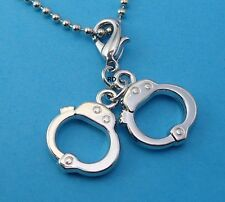 3 D Police Handcuff Set   Clip - On Charm for Bracelet or Keyring
