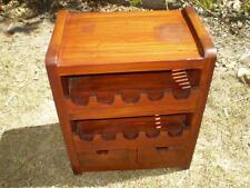 solid timber10 bottle wine rack with storage draws,Bali style exotic furniture,