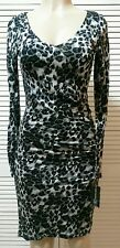 INC International Concepts Leopard Swirl Royal Garden Rushed Sides Dress Small