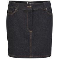 DeMina Womens Ladies Faded Denim Jean Short Stretch Dark Wash Mini Skirt