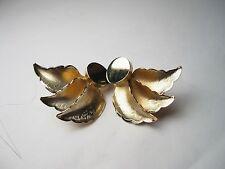 Vintage 1970's/1980's Goldtone Clip Earrings, Leaf & Disc Stud - Nice