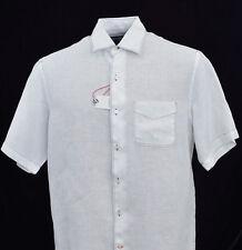 Men's DANIEL CREMIEUX White Linen Black Stitch S/S Shirt Large L NWT NEW