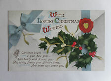Antique c1910 Christmas Postcard. Holly/ Mistletoe/ Wax Seal on Envelope