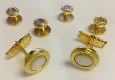 NEW Mens Gold/Pearl White Embossed Cuff Links Shirt Studs Western Bullet Tuxedo
