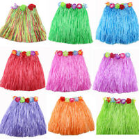 Ladies Women Hawaii Fancy Dress Grass Skirt Hula Hawaiian Full EW