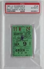 SANDY KOUFAX Perfect Game No Hitter Sept. 9, 1965 Dodgers Cubs Ticket Stub PSA