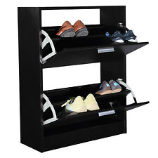 COSTWAYShoe Rack Storage Cabinet 2 Drawers Wood Furniture Entryway Black New