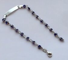 14K WHITE GOLD BLUE COLOR ID NAME PLATE EVIL EYE BRACELET 8.0 INCHES