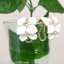 White Enamel Leaves 18K GP Swarovski Crystal Buckle Earrings 1147