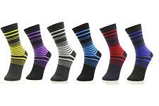6 Pairs Men Dress Socks Formal Classic Color Stripe Long Crew Comfort Pack
