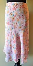 Context Woman 100% Silk Pink Floral Tier Flared Skirt Plus size 18W NWT $80 SK3