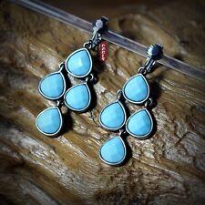 Boucles d`Oreilles Clips Chandelier Goutte Bleu Turquoise Retro Original C5